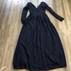 Navy Blue Lace Long sleeve Open Back Maxi Dress